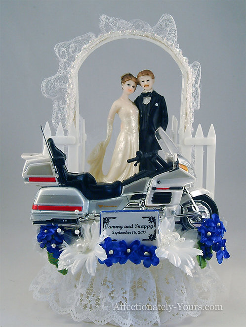 Honda Goldwing Motorcycle Bride and Groom Customized Wedding Cake Topper
