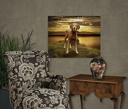 Lake of Gold Custom Pet Portrait Paintin