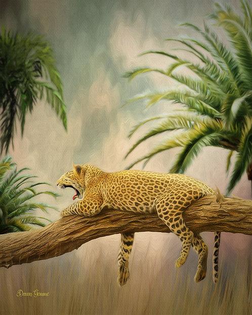 Lazy Day Leopard Wildlife Digital Oil Painting