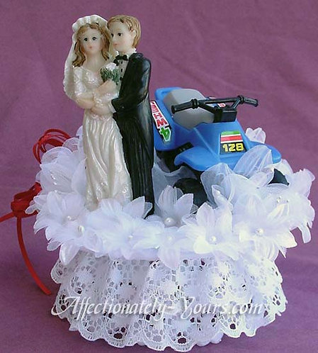 ATV Quad Bride and Groom Customized Wedding Cake Topper