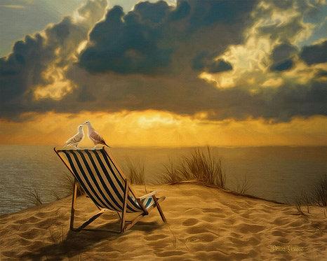 Ocean Breezes Sunset Wildlife Digital Oil Painting