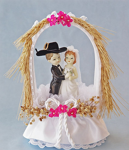 Wheat Arch Hillbilly Redneck Bride and Cowboy Groom Custom Wedding Cake Topper