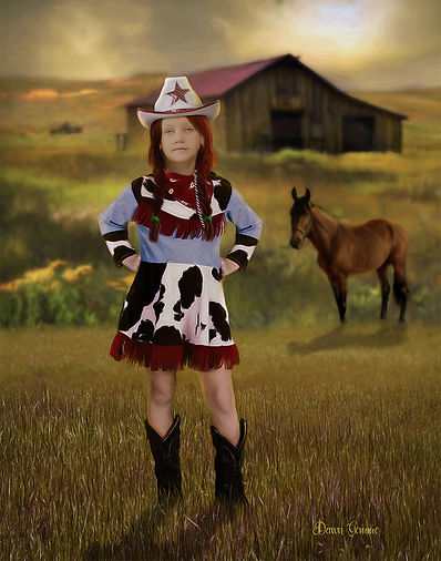 Country  Cowgirl Child Fantasy Portrait