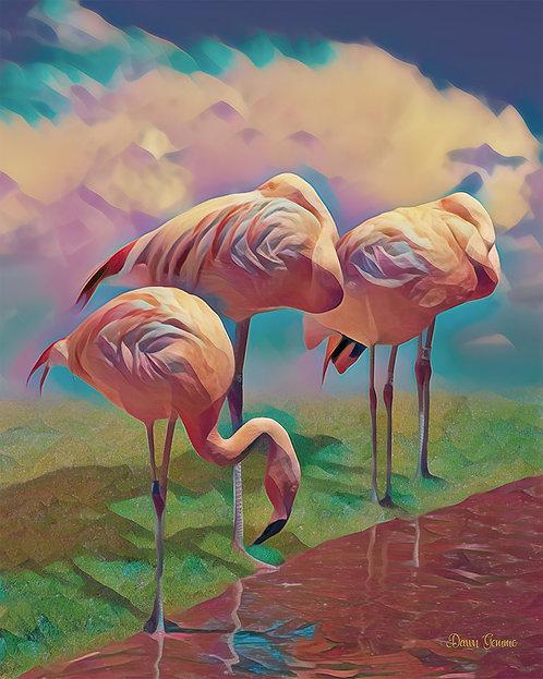 Striking Colorful Waters Edge Flamingos Digital Oil Painting