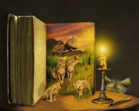 Curiosity Lions and Cubs Fantasy Digital Oil Wildlife Painting