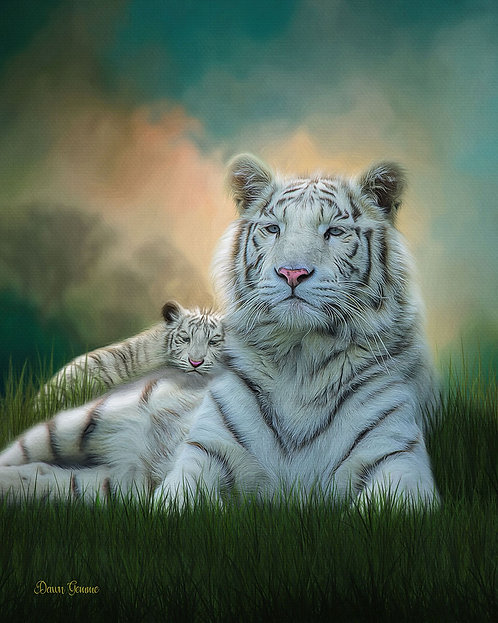 White Tiger and Cub Exotic Wildlife Digital Oil Painting