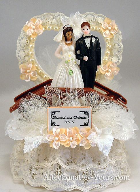Romantic Bridge Bride and Groom Customized Wedding Cake Topper