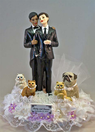 Two Grooms with Pets Wedding Cake Topper