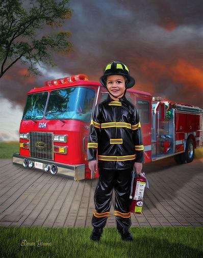 Fearless Firefighter Fantasy Boys Custom Portrait