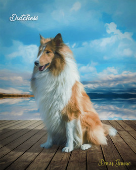 Mountain Lake Boardwalk Custom Pet Portrait Painting
