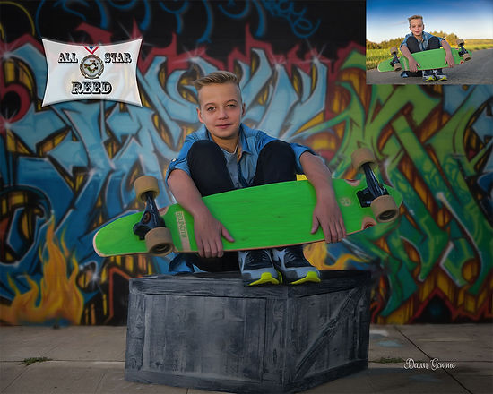 Skateboarding Custom Childs Portrait