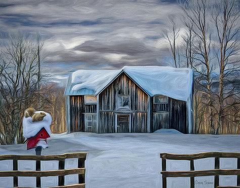 Old Rustic Winter Barn Digital Oil Wildlife Painting