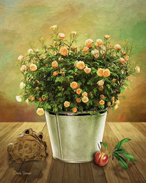 Rustic Rose Still Life Digital Oil Painting