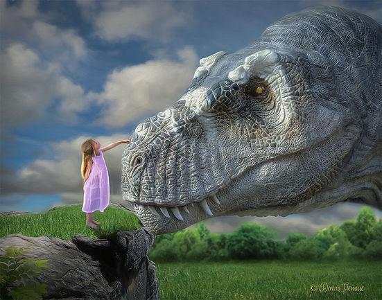 Girl Child and Dinosaur Fantasy Art