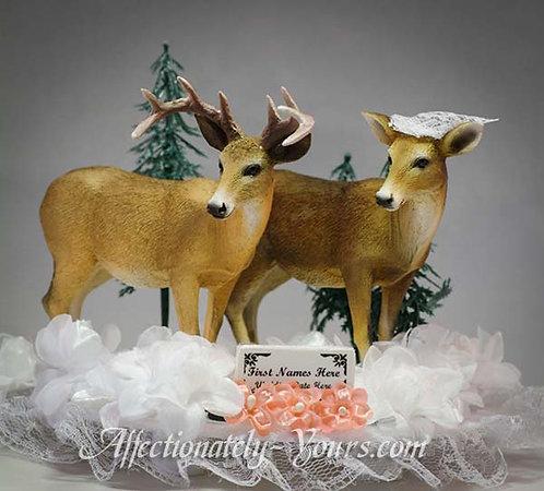Buck and Doe or Moose Bride - Groom Custom Wedding Cake Topper
