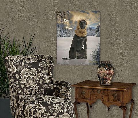 Winter Pines Custom Dog Portrait