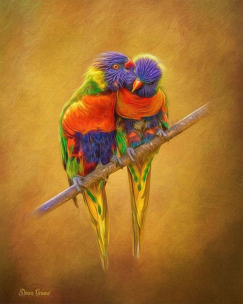 Rainbow Lorikeets Wildlife Digital Oil Painting