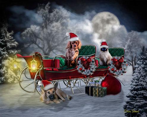 Santa Sleigh Custom Pet Holiday Portrait Painting