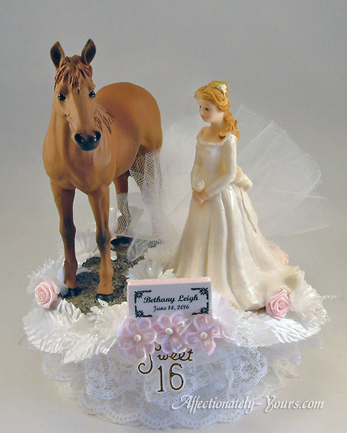 Sweet 16 - 15 Quinceañera With Horse Customized Cake Topper