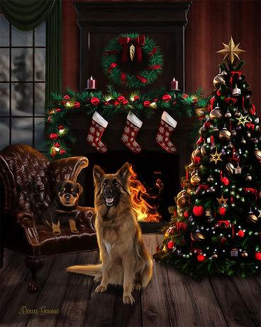 Christmas Hearth Custom Pet Portrait Painting