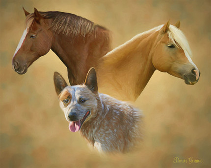 Trilogy Dog Horse Cat Custom Pet Portrait Painting