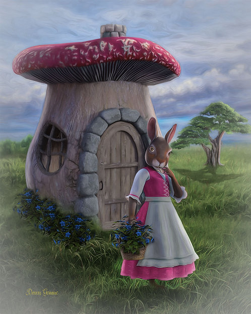Honey Bunny and the Mushroom House Child Fantasy Painting