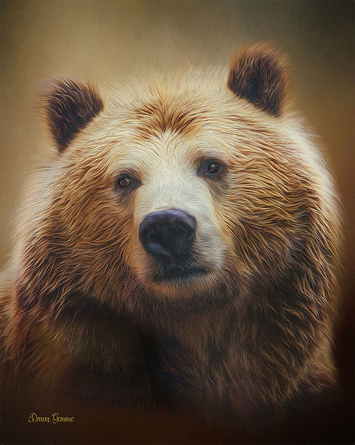 Grizzly Bear Wildlife Digital Oil Painting