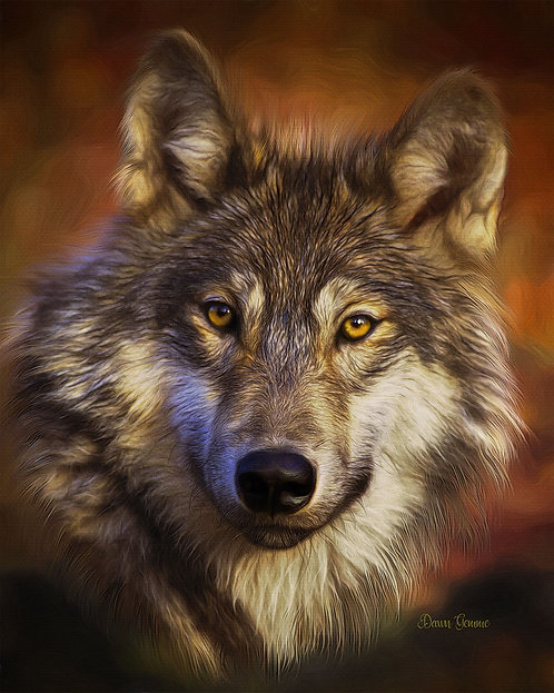 Majestic Wolf  Digital Oils Wildlife Fantasy Painting