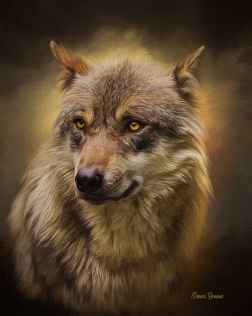 Predator Wolf Digital Oil Wildlife Fantasy Painting