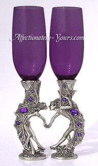 Pewter Fairy Heart Toasting Glasses
