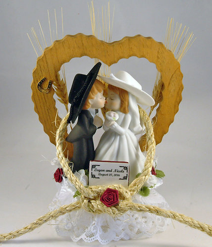 Style F Hillbilly Redneck Cowgirl and Cowboy Customized Wedding Cake Topper