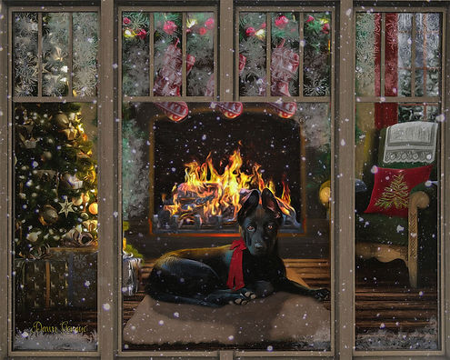 Frosted Window  Christmas Custom Pet Portrait Painting