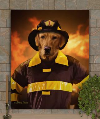 Fire Fighter Custom Pet Portrait Paintin Painting