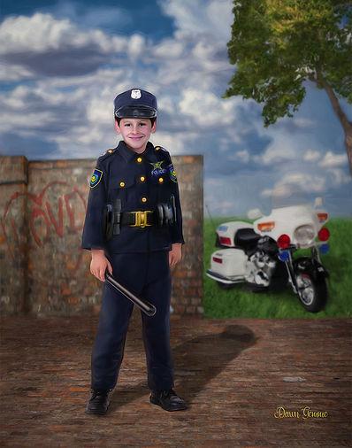 Police Man Custom Child Fantasy Portrait'
