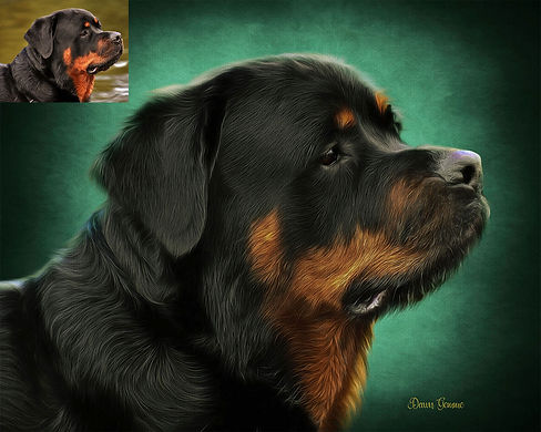 Emeralnd Halo Custom Pet Oil Painting