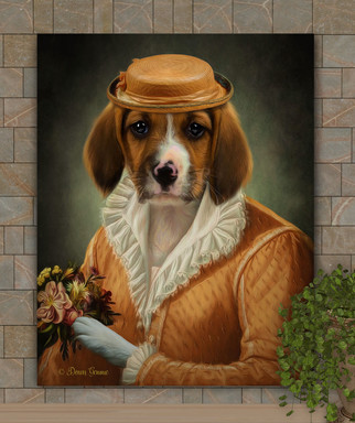 Lady Emma Period Style Custom Pet Portrait Painting