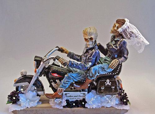 Eternal Ride Motorcycle Skeleton Bride - Groom Custom Wedding Cake Topper