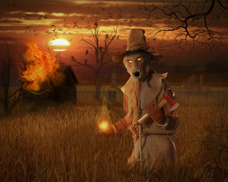 Haunted Scarecrow Final Sunset Digital Oil Fantasy Painting