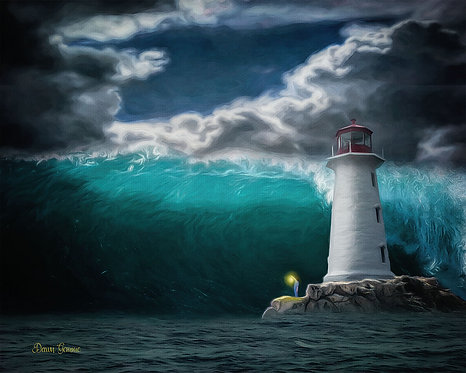 Tidal Wave and Lighthouse Digital Oil Painting