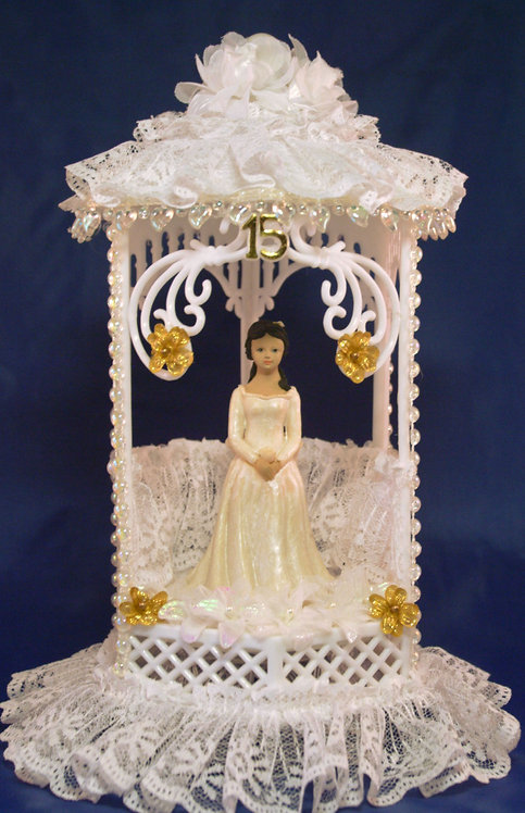 Lace Draped Gazebo Sweet 16 - 15 Quinceañera Customized Cake Topper