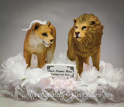 Lion Bride and Groom Custom Wedding Cake Topper