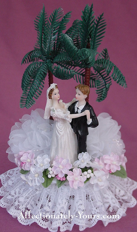 Island Moonlight Bride and Groom Customized Wedding Cake Topper