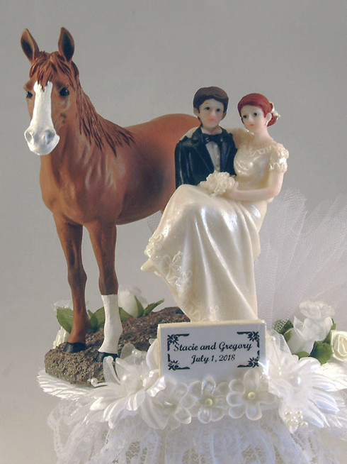 Horse with Bride and Groom Cake Topper