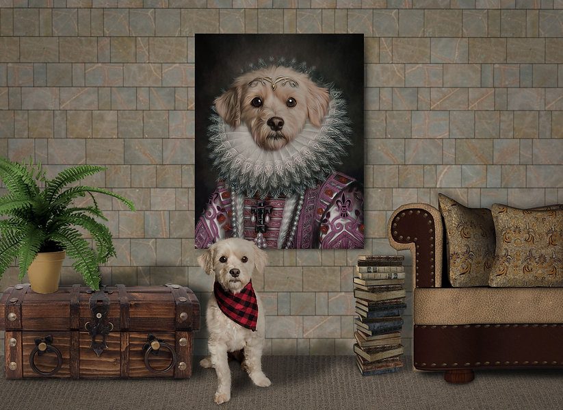 Custom Pet Portrait Room Scene