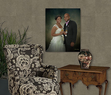 Custom Digital Oil Wedding Portrait Pain