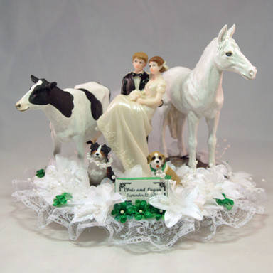 Bride and Groom With Cow, Horse and Dogs Cake Topper