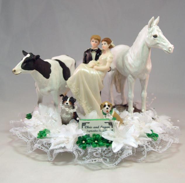 Romance Acres Farmer Bride - Groom Custom Wedding Cake Topper