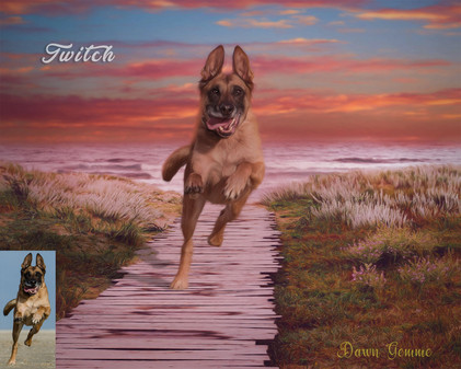 Beach Boardwalk Custom Pet Portrait Painting