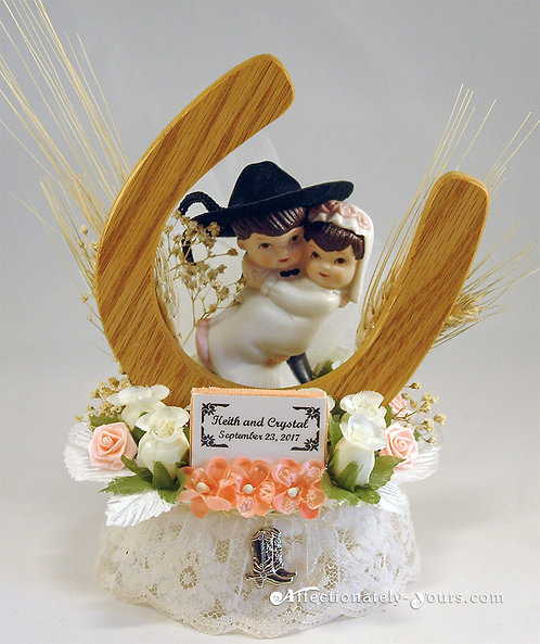 Style E Hillbilly Redneck Bride and Cowboy Groom Customized Wedding Cake Topper