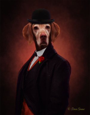 Victorian Groom Period Style Custom Pet Portrait Painting